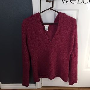 Sweater with hood.